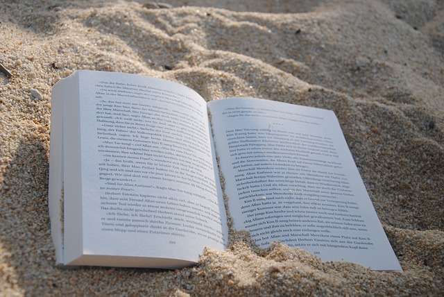 An open book on a sandy beach in the sun. For a post about Sexy Summer Book Club .