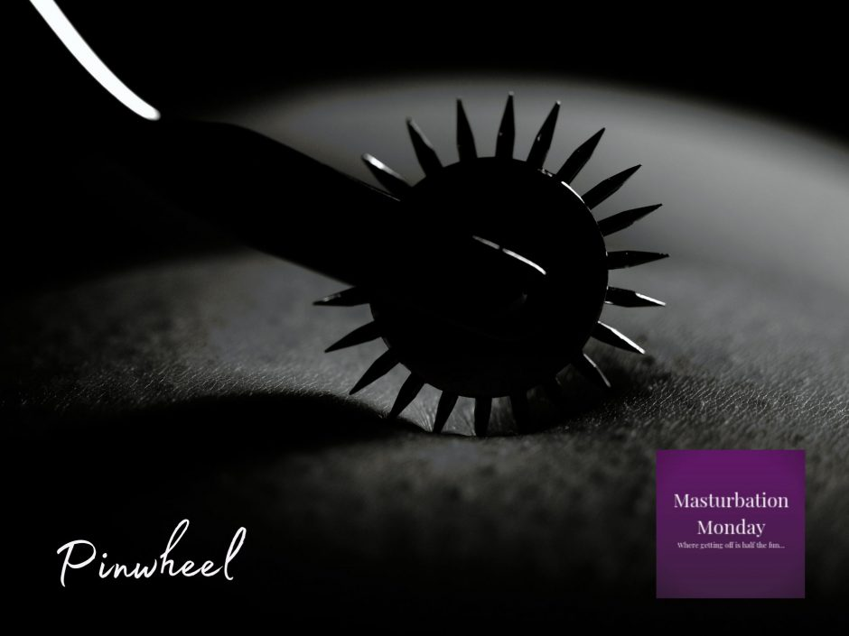 Header for Masturbation Monday BDSM erotica featuring a pinwheel and male chastity