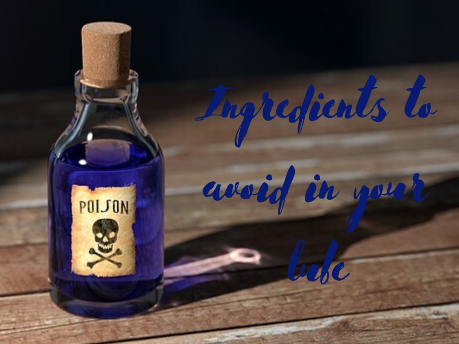 Header image for a post about toxic ingredients in lube with a picture of a bottle of blue poison