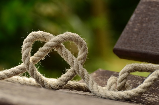 A length of rope twisted into a heart. For a fiction extract for Smutathon.