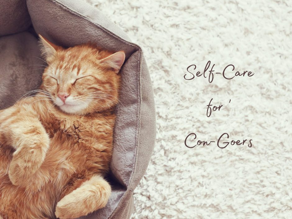 Header image for a post on self-care at conferences