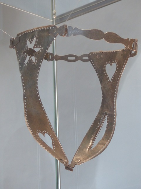 A metal medieval chastity belt. For a post on orgasm control.