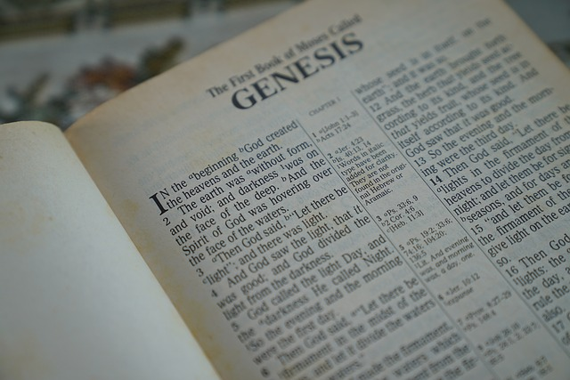 The Bible open at the first page of Genesis. For a post on my kinky origin story