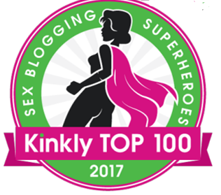 The Kinkly Top 100 Sex Bloggers 2017 badge. For a roundup post
