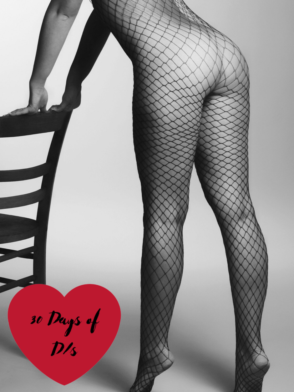 A woman bending over a chair wearing a fishnet body suit. For a post about submission archetypes