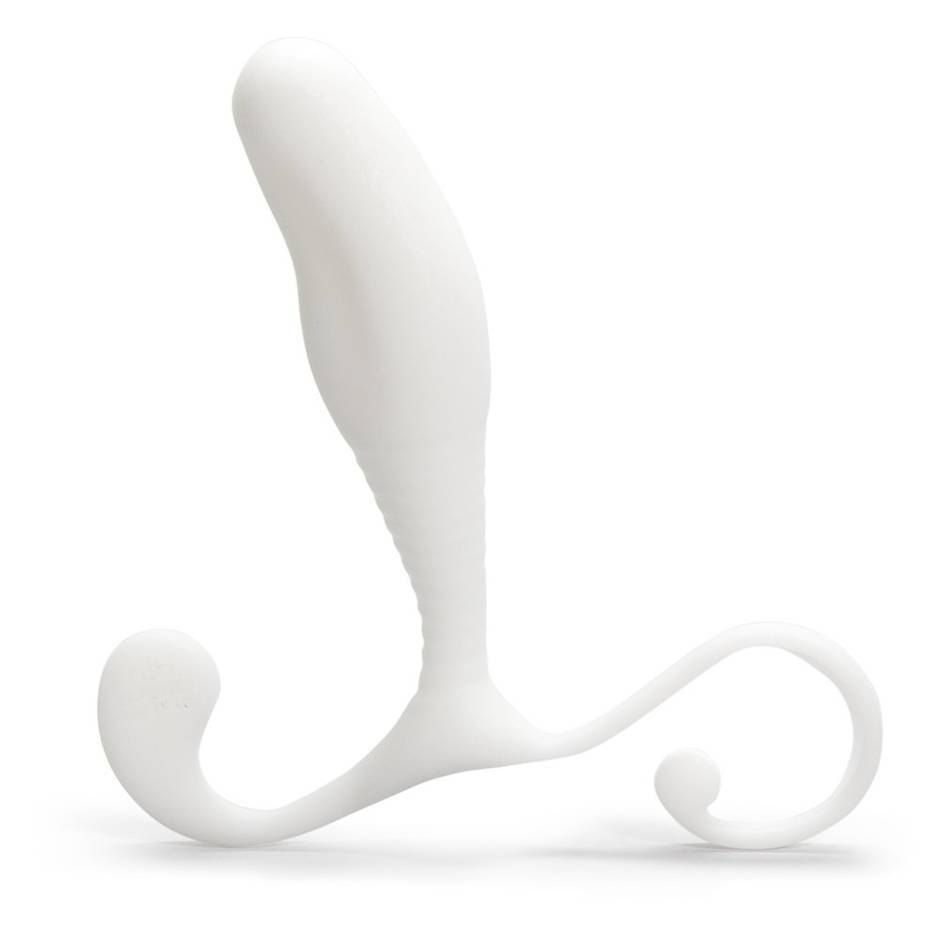 The Aneros MGX, a white curved prostate stimulator with a curly base.