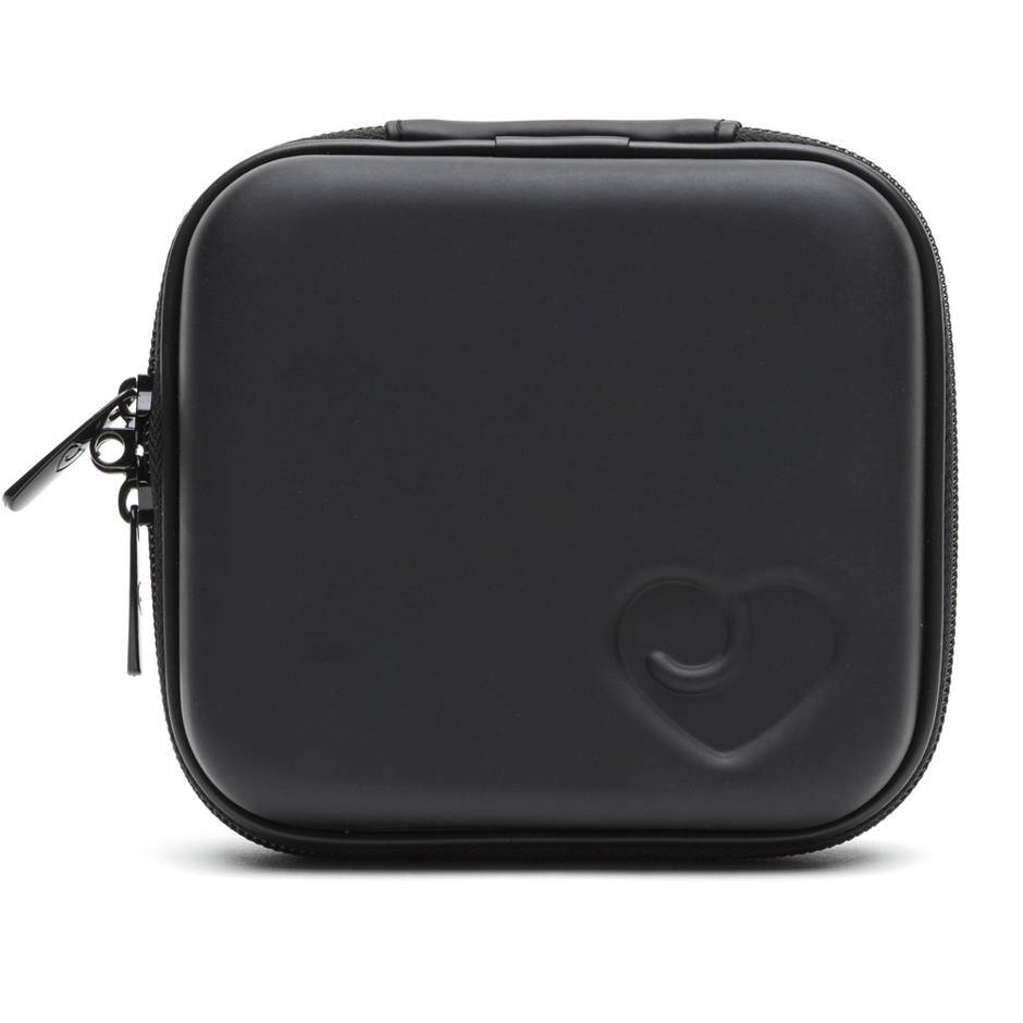 The storage cases for Lovehoney's Desire products. A black square zip up case with the Lovehoney heart logo.