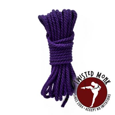 A coil of violet dyed hemp rope from Twisted Monk