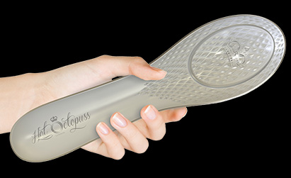 The Queen Bee by Hot Octopuss, a grey oscillating sex toy that is shaped like a hairbrush.