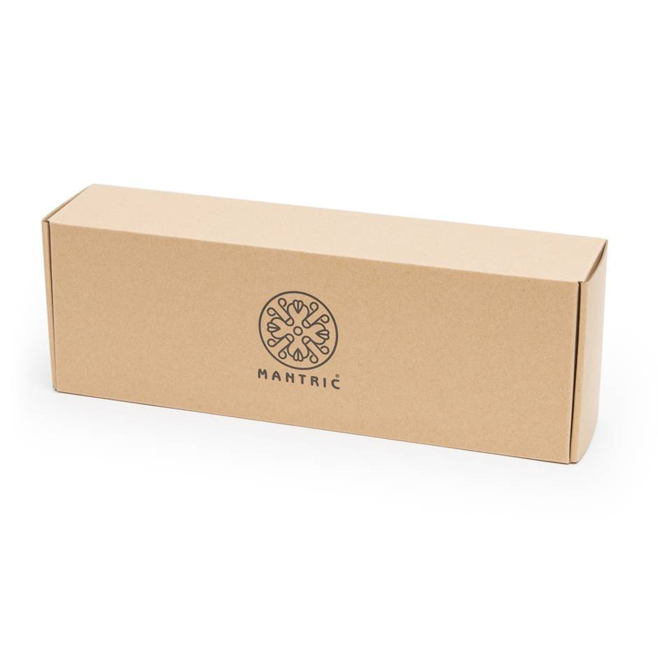"The box for the Mantric Wand vibrator - a simple cardboard box with a mandala logo and the word ""Mantric"" on the front."