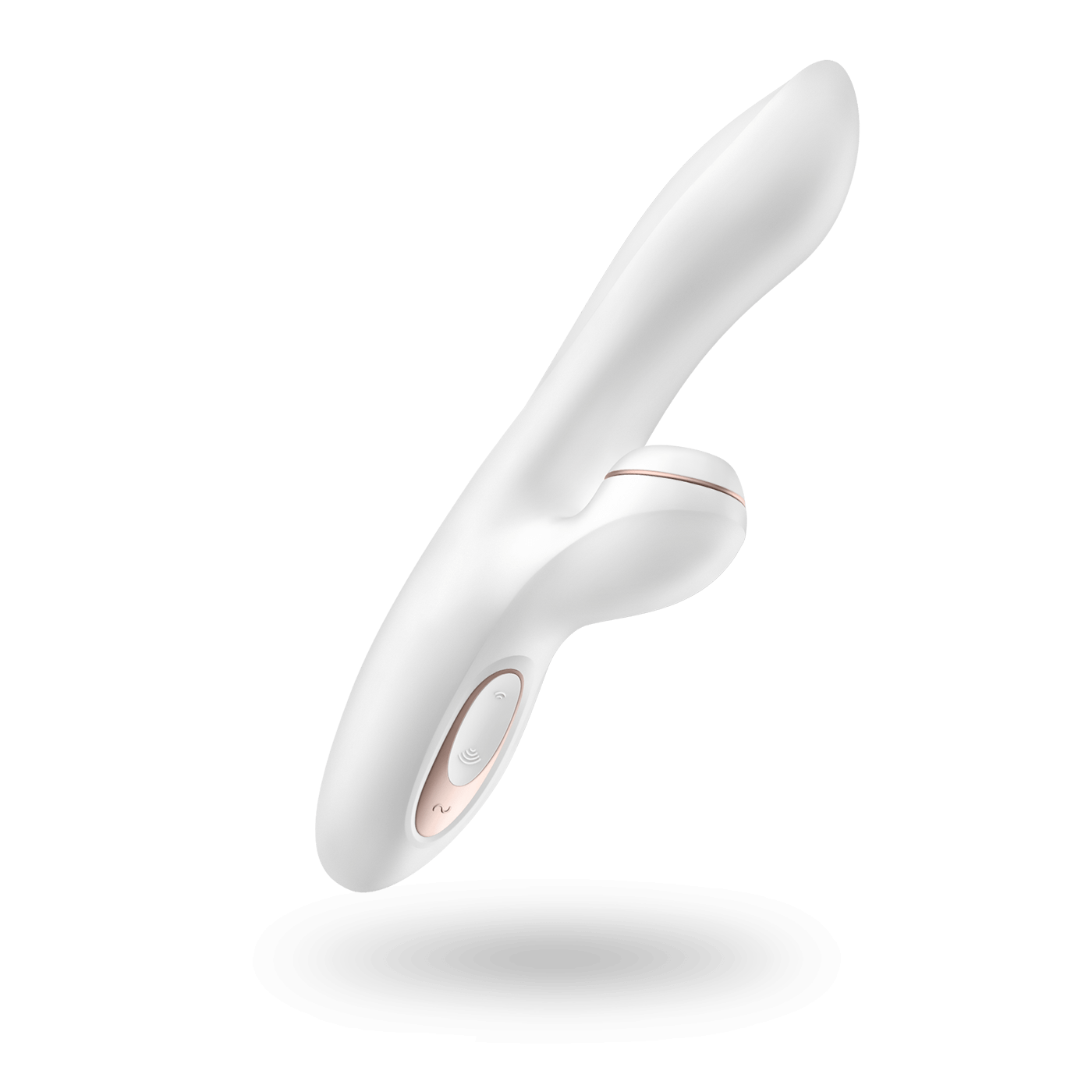 The Satisfyer Pro G Spot Rabbit, a while silicone rabbit style sex toy with rose-gold accents.