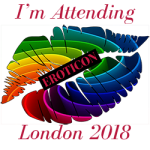 The Eroticon 2018 rainbow lips badge