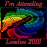 The Eroticon 2018 rainbow lips badge