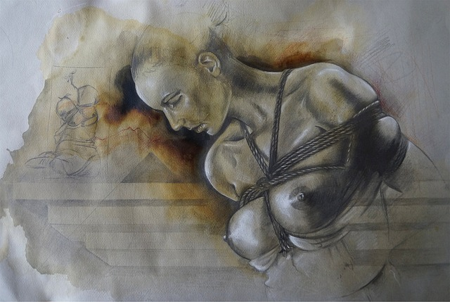 An artistic drawing of a woman in a shibari chest harness. For a post on weight and rope.