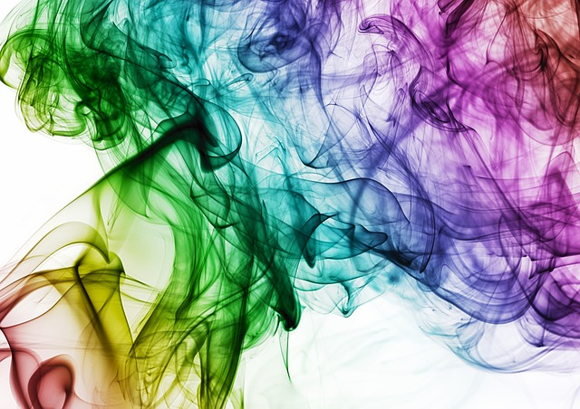 An abstract of rainbow coloured smoke.