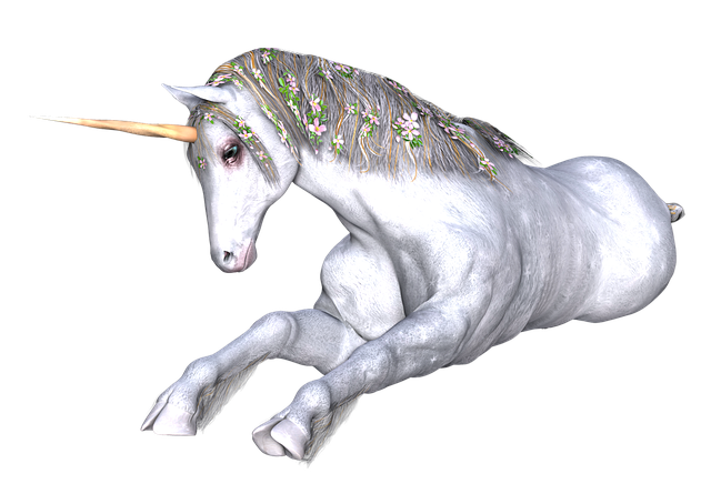 An artistic drawing of a sitting unicorn