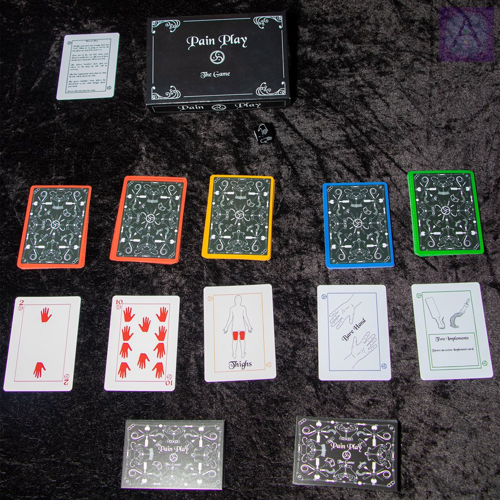 A laid out table with Pain Play the Game cards