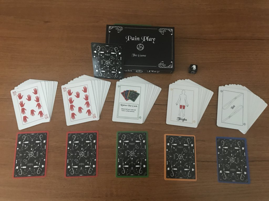 A table laid out with a deck of Pain Play the Game cards