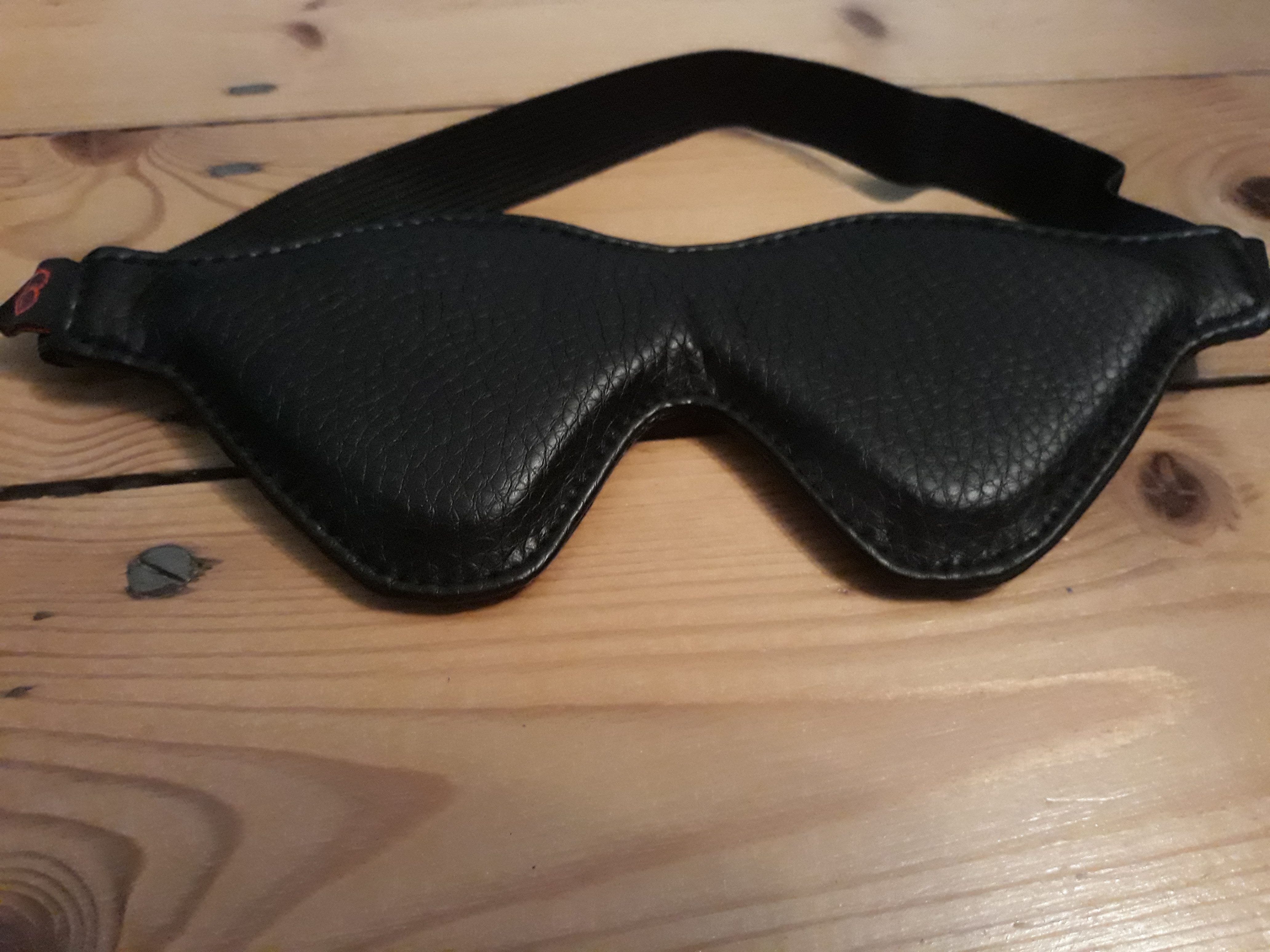 A black blindfold. For a post about the Take Control bondage kit.