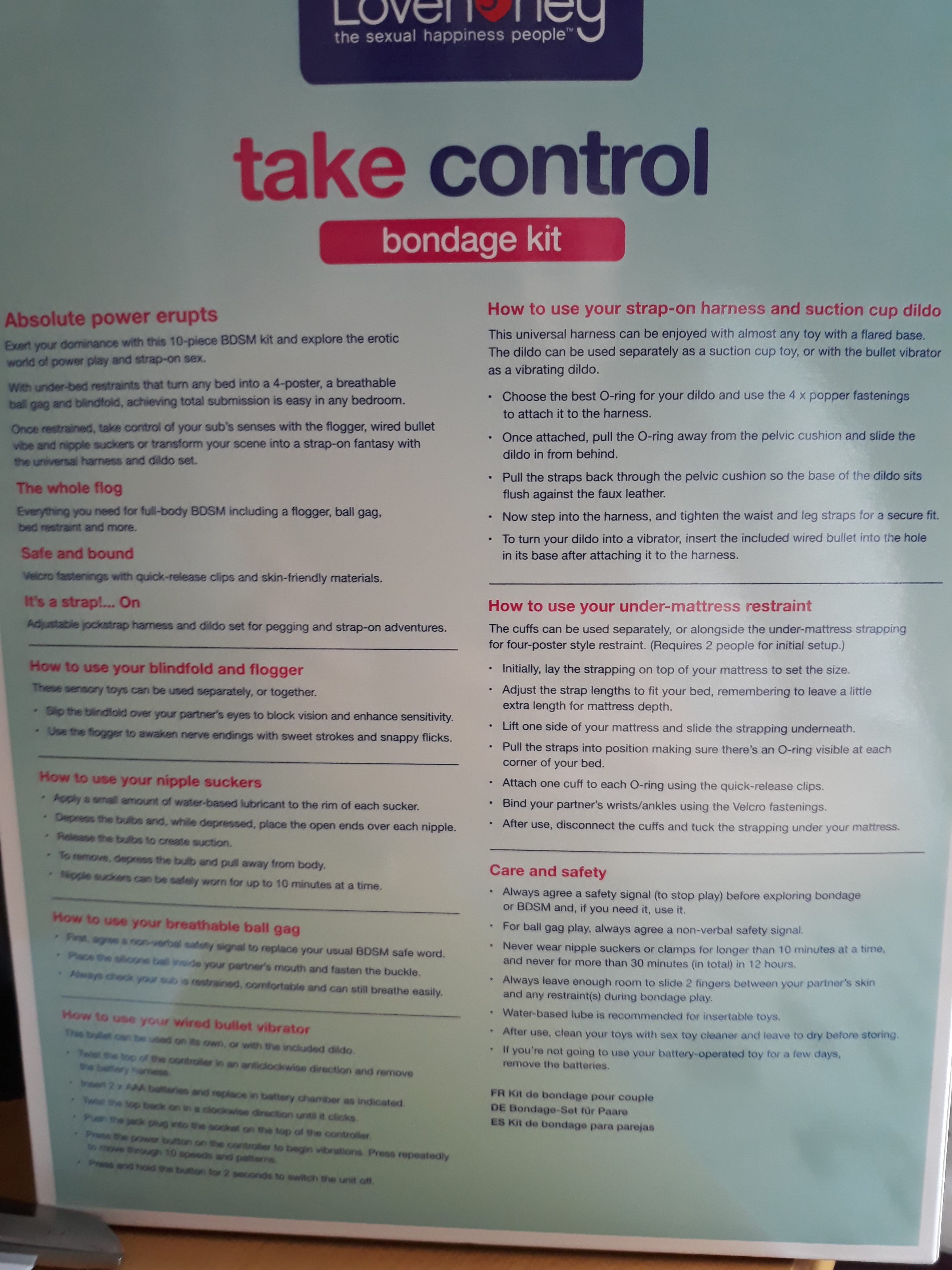 The back of the Take Control Bondage Kit box