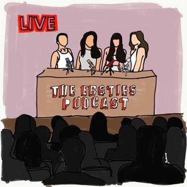 A cartoon image of the Ersties Podcast crew speaking to a live audience.