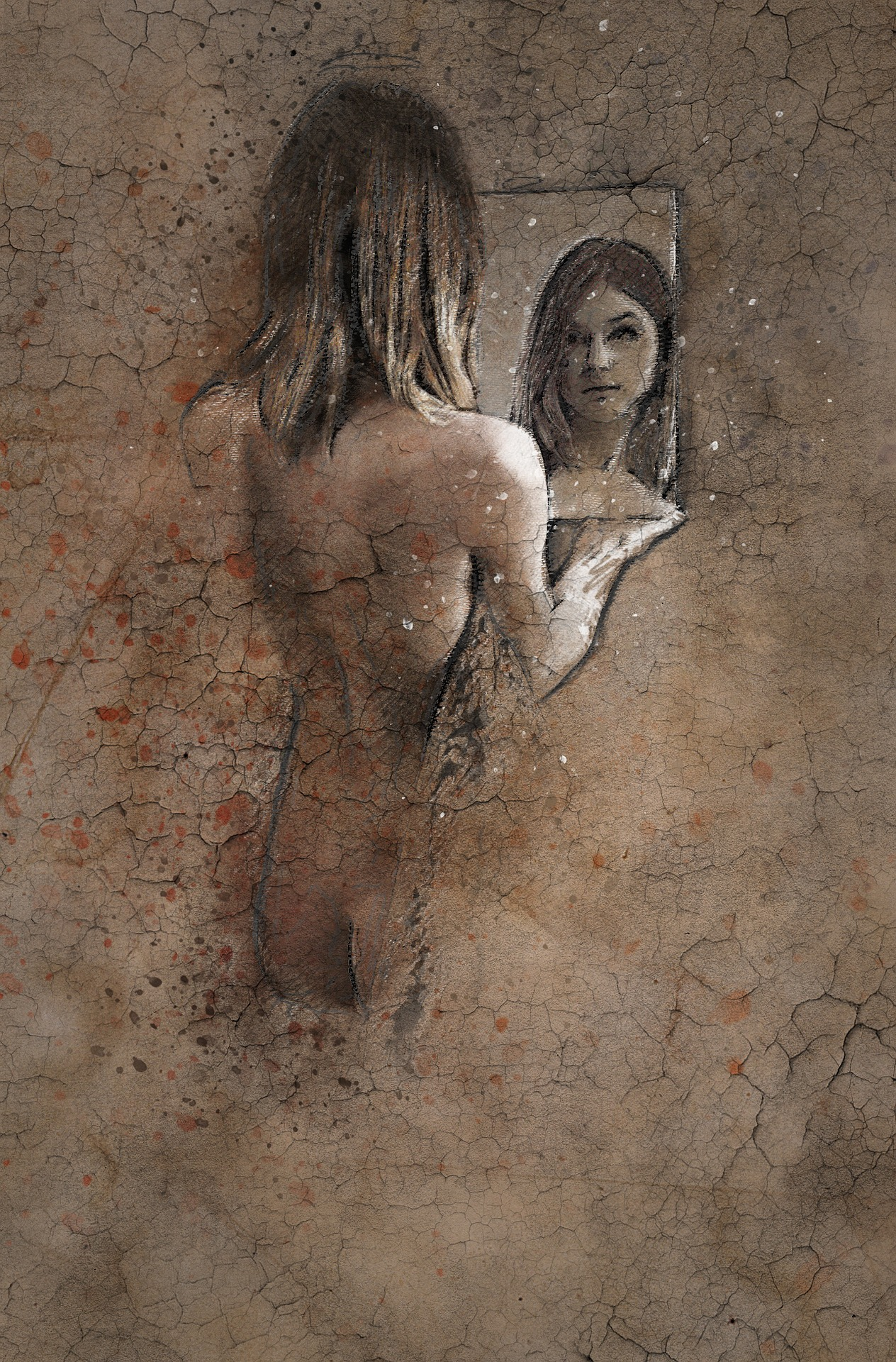 A painting of a young woman looking at her face in the mirror. For a post by Alicia Power.