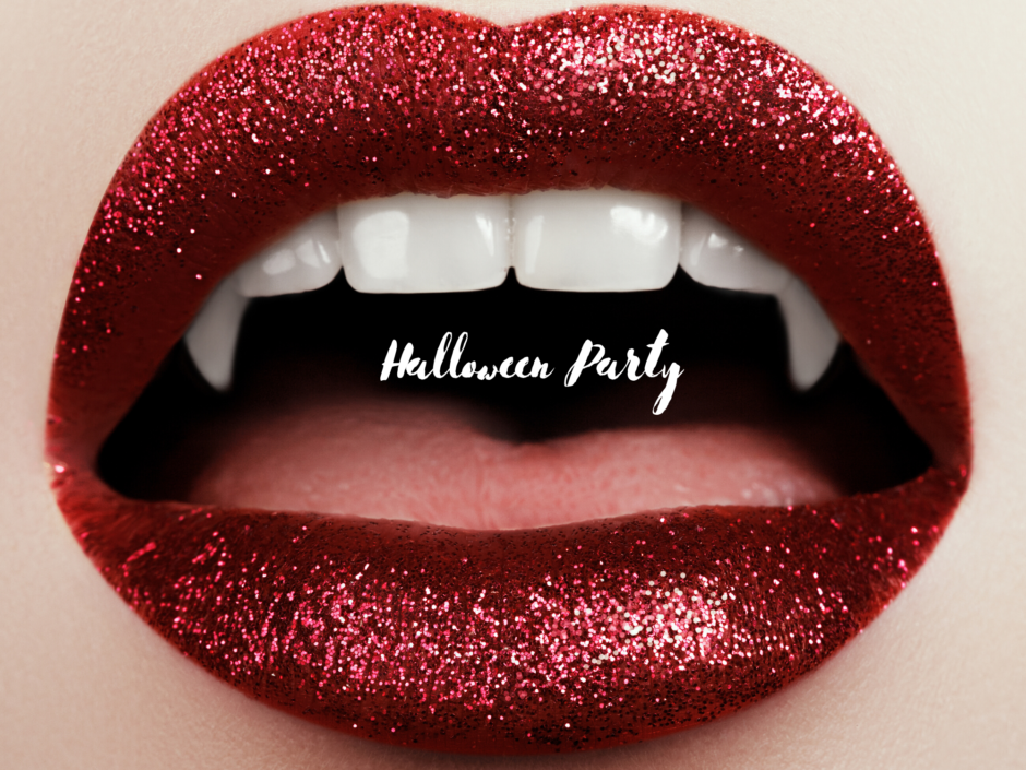A woman's lips with red sparkly lipstick and vampire teeth. For a story called Halloween Party