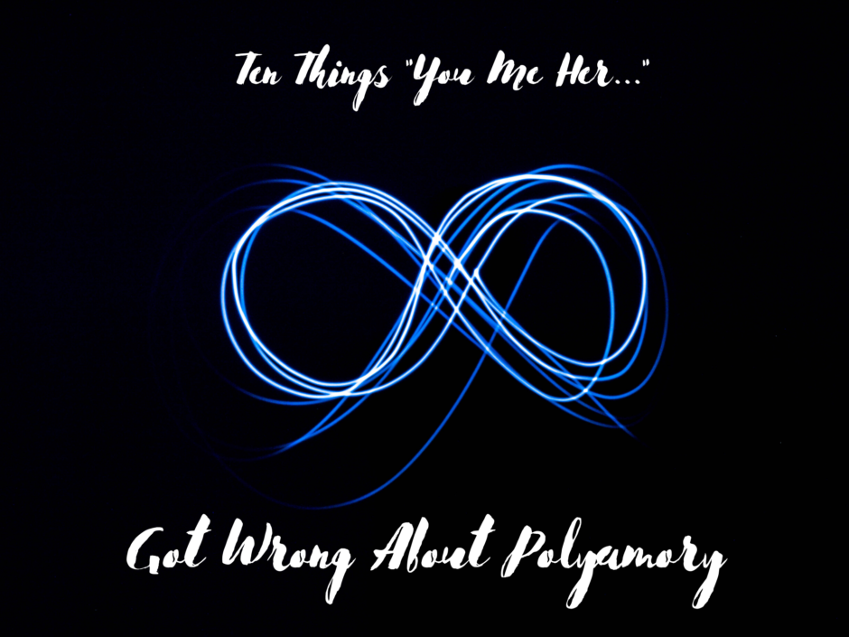 The infinity symbol on a black background. For a post about You Me Her and polyamory