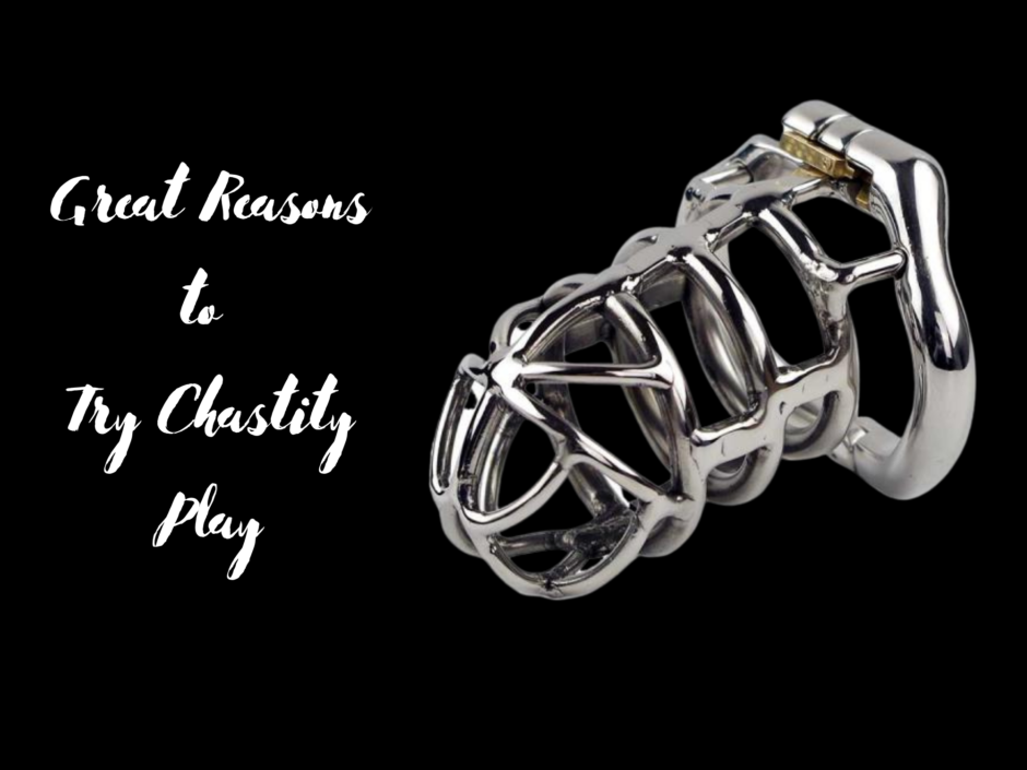 A metal chastity device for a penis on a black background