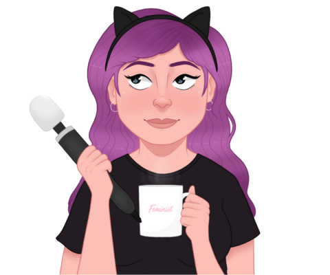 The Coffee and Kink logo - a cartoon portrait of a white woman in black cat ears with purple hair, holding a wand vibrator and a coffee cup