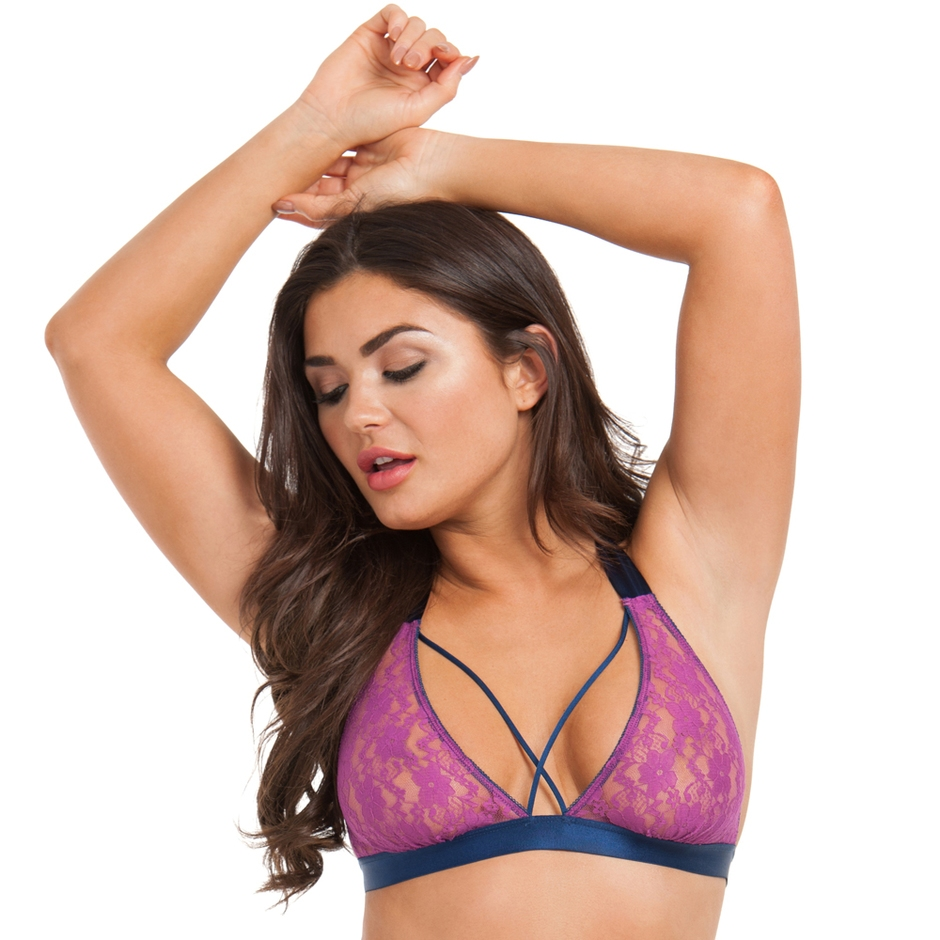 Model wearing the pink and blue Free Spirit lingerie bra by Lovehoney
