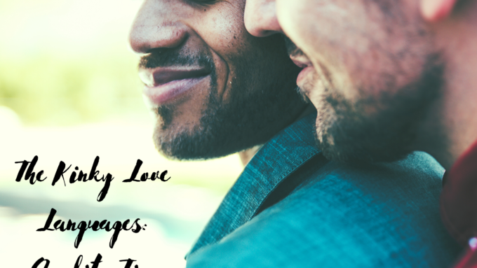 A male/male couple snuggling and smiling. For a post on the love language of quality time