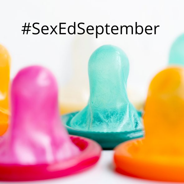 The Sex Ed September banner, featuring colourful condoms