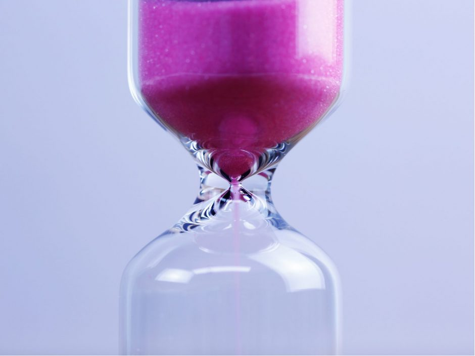 Purple hourglass. Header for a post on how there is no time limit on anything