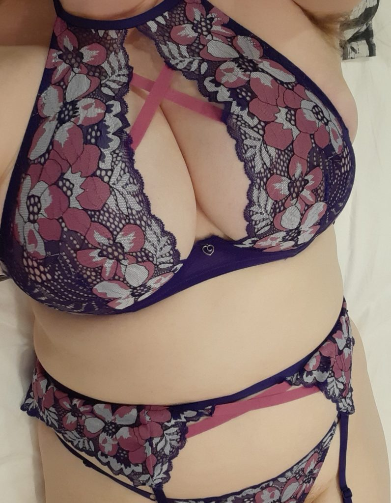 Me wearing the Passion Flower Bra Set