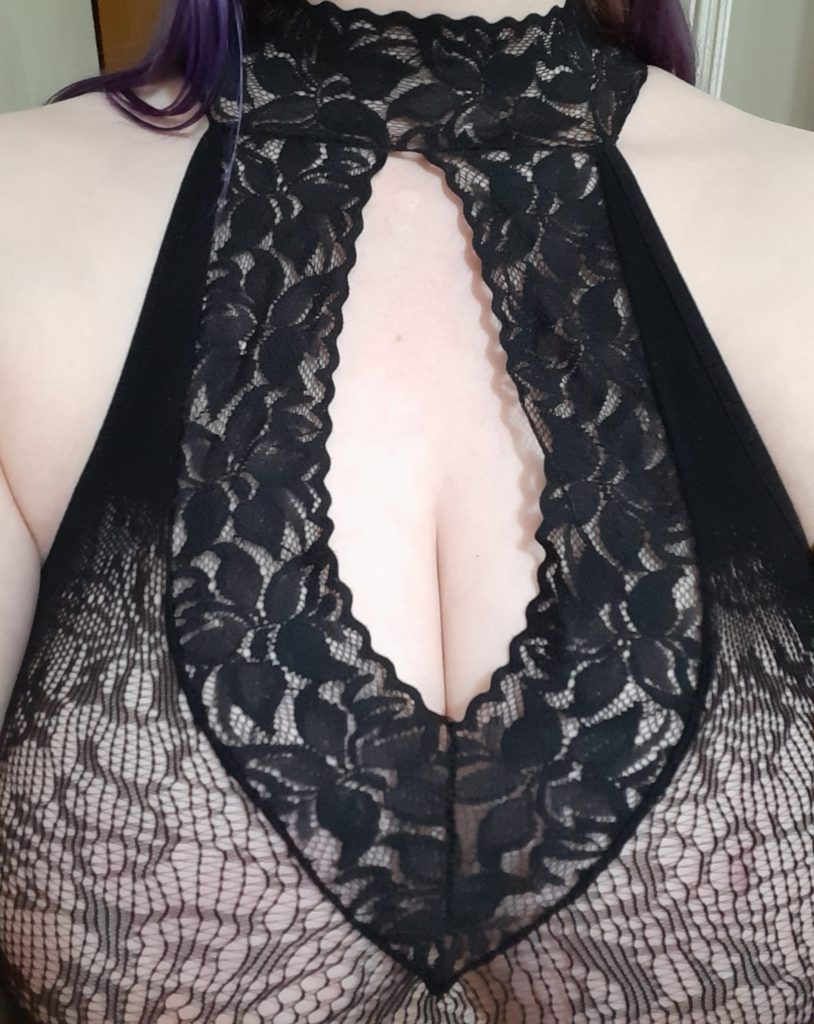 Neckline of Lovehoney spanking dress from Fifty Shades lingerie line