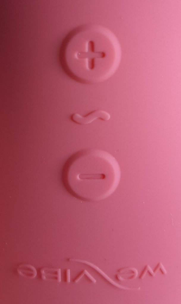 Vibrator buttons on the We-Vibe Touch X powerful external vibrator