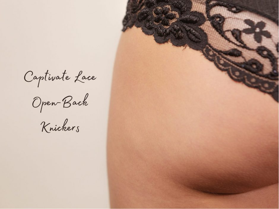 Header image for review of Captivate lace open-back knickers from Lovehoney Fifty Shades lingerie range