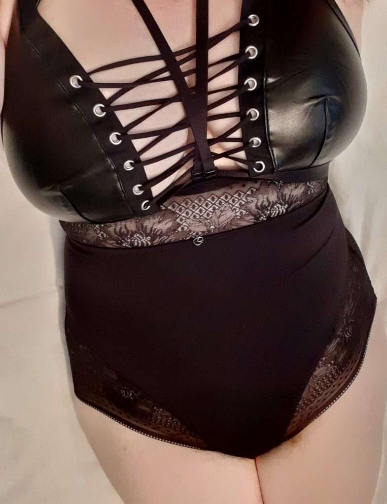 Amy in Lovehoney Hourglass open-cup shaping body suit lingerie