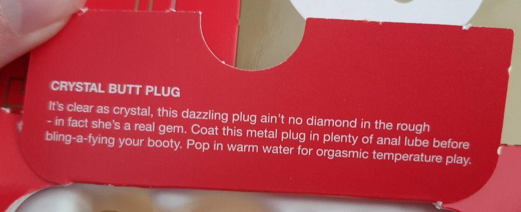 Description of jewelled butt plug in Lovehoney sex toy advent calendar
