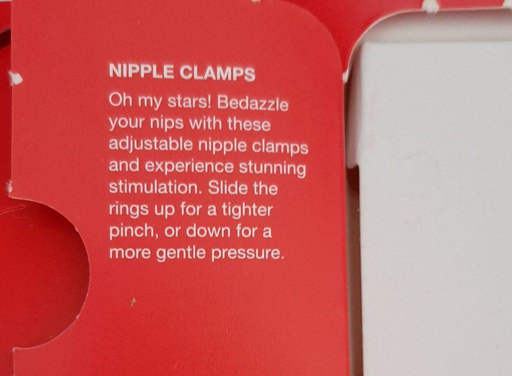 Lovehoney adjustable nipple clamps in sex toy advent calendar