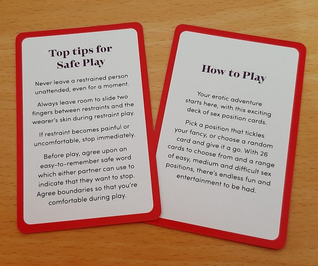 Sex position cards safety and instructions