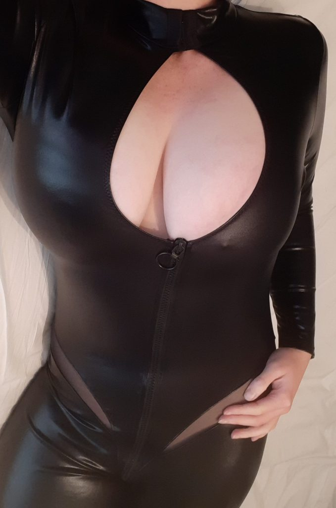 Black faux leather catsuit wet look